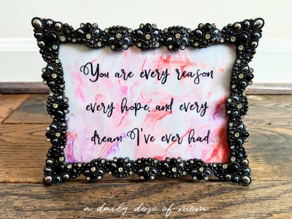 Valentine's Quote Framed