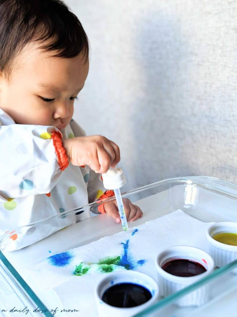 Watercolor with Droppers: A Fine Motor Activity for Toddlers
