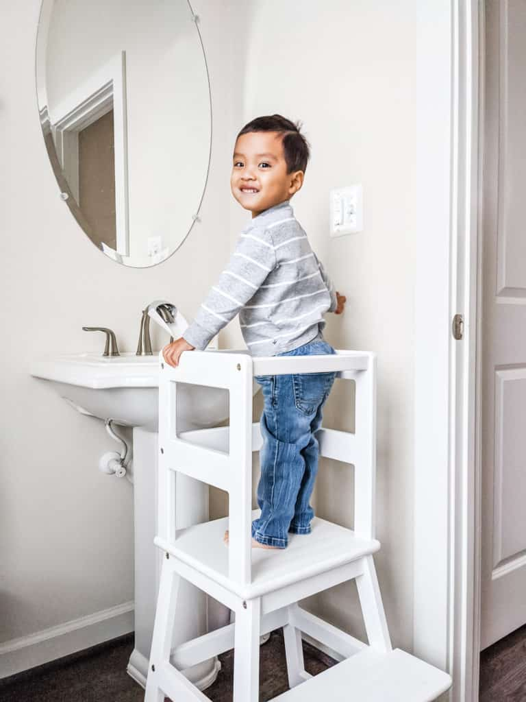 Learning Tower for Toddlers use in the bathroom