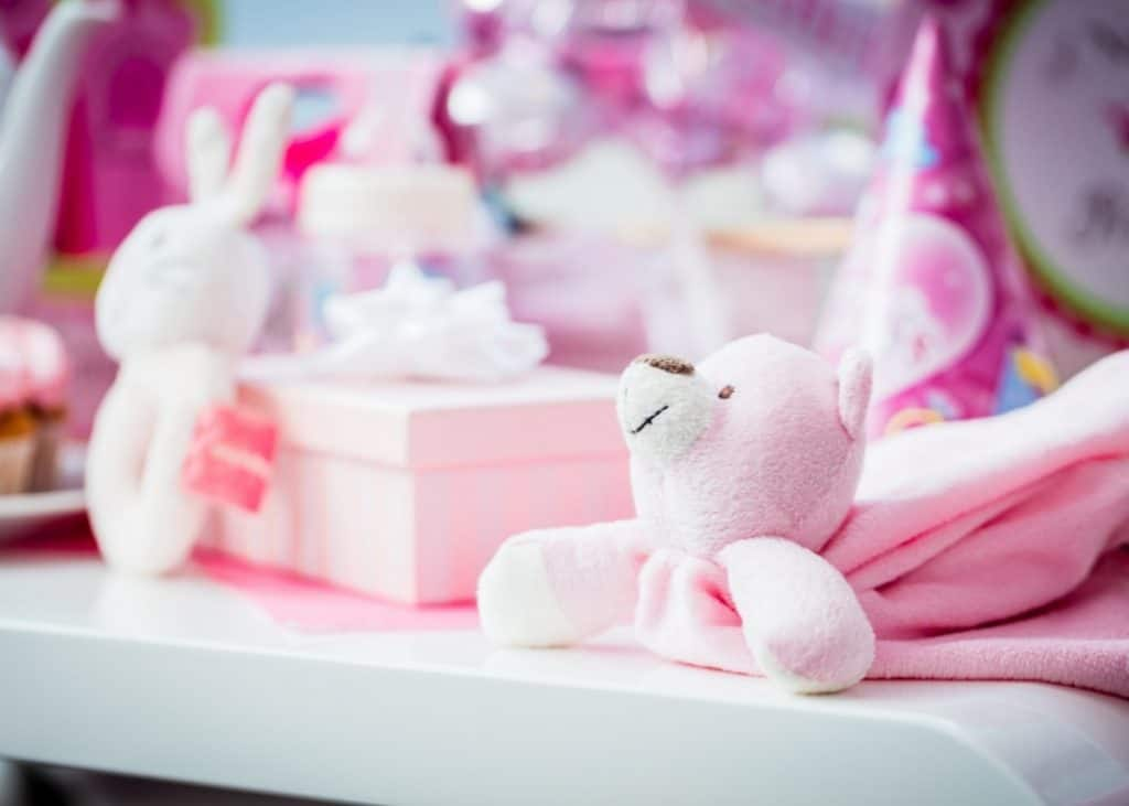 unwrapped presents for a display baby shower
