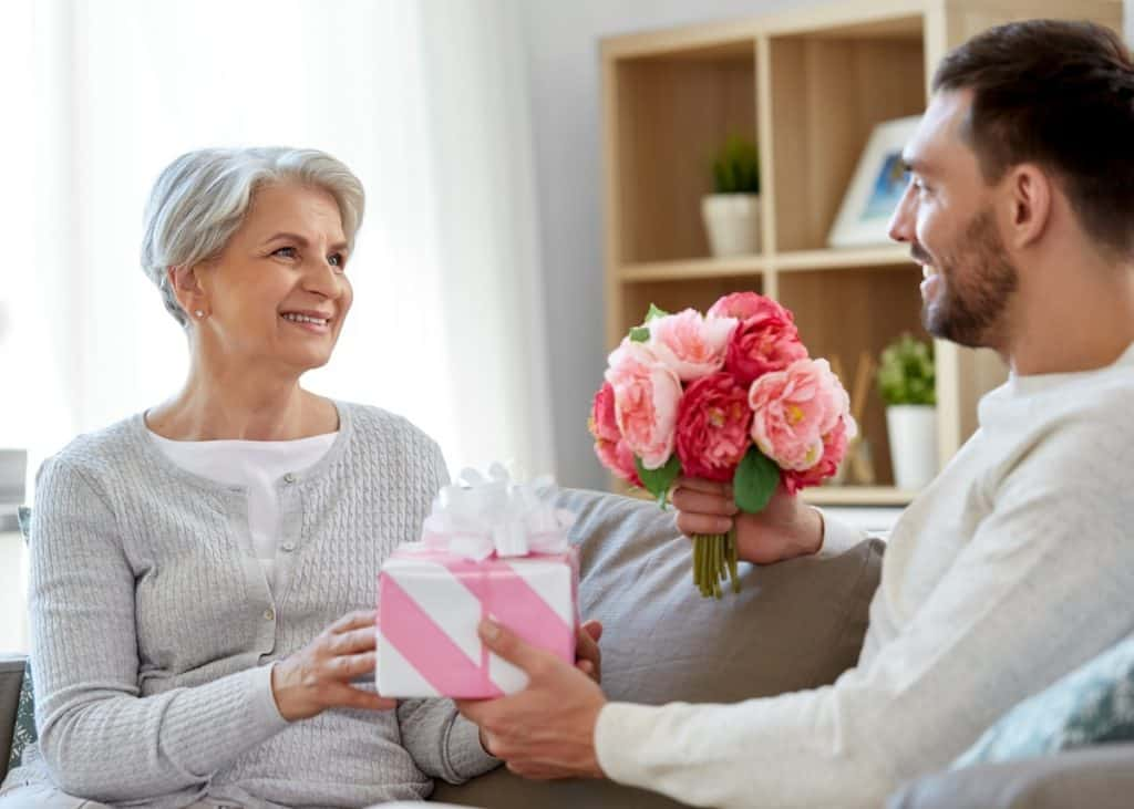 new dad giving new grandmother push present