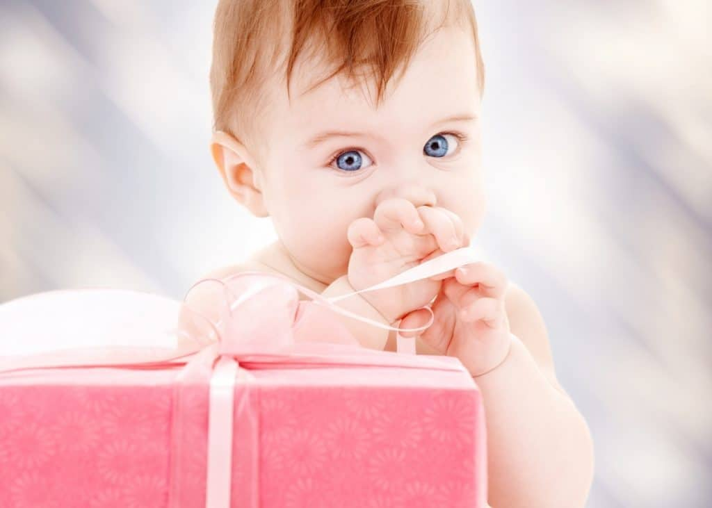 baby with wrapped push present